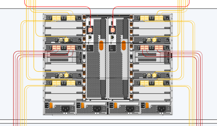 Visio by DPTPB: 4-Node NetApp AFF A700 Fabric MetroCluster sample drawing